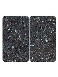 2er-Set Herdabdeckplatten 'Marmor-Optik', graublau
