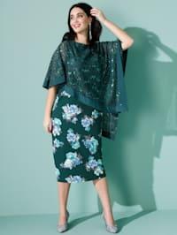 Kleid mit asymmetrischem Spitzenüberwurf