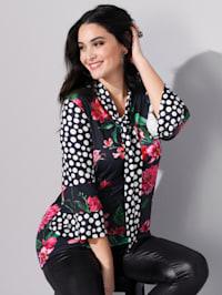 Shirt mit Punkte- und Blumendruck