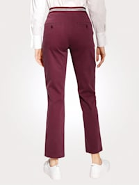 Trousers with a striped waistband