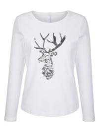 T-shirt à motif de tête de cerf pailleté