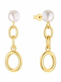 Ohrhänger für Damen, 925 Sterling Silber vergoldet, Perle