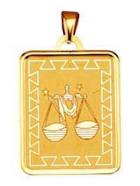 """Pendentif avec signe du zodiaque """"Balance"""" en or jaune 375"""