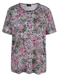 Kukkakuvioitu pitsisomisteinen paita