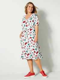 Jersey jurk met aardbeienprint
