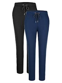 Športové nohavice, 2 kusy s lesklým pásom na bokoch