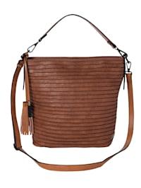 Handbag with stitched fabric stripes