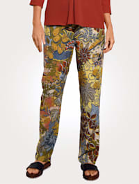 Pull-on trousers in a floral pattern