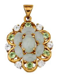 Pendentif avec jades et péridots
