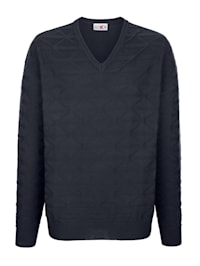 V-ringad tröja med stickat mönster