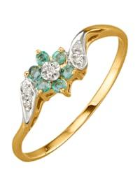 Kukkasormus smaragdein ja timantein