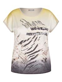 Shirt mit exotischem Front-Print und Pailletten
