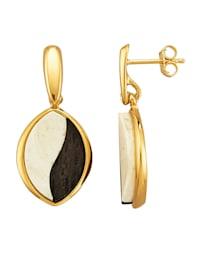 Boucles d'oreilles avec 2 pierres d'ambre Milky (rec.)
