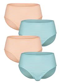 Taillenslips im 4er-Pack mit garngefärbtem Ringel