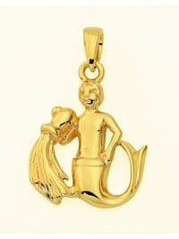 Damen & Herren Goldschmuck 585 Gold Sternzeichen Anhänger Wassermann