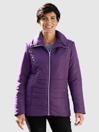 Gewatteerde jas met brede, platte kraag
