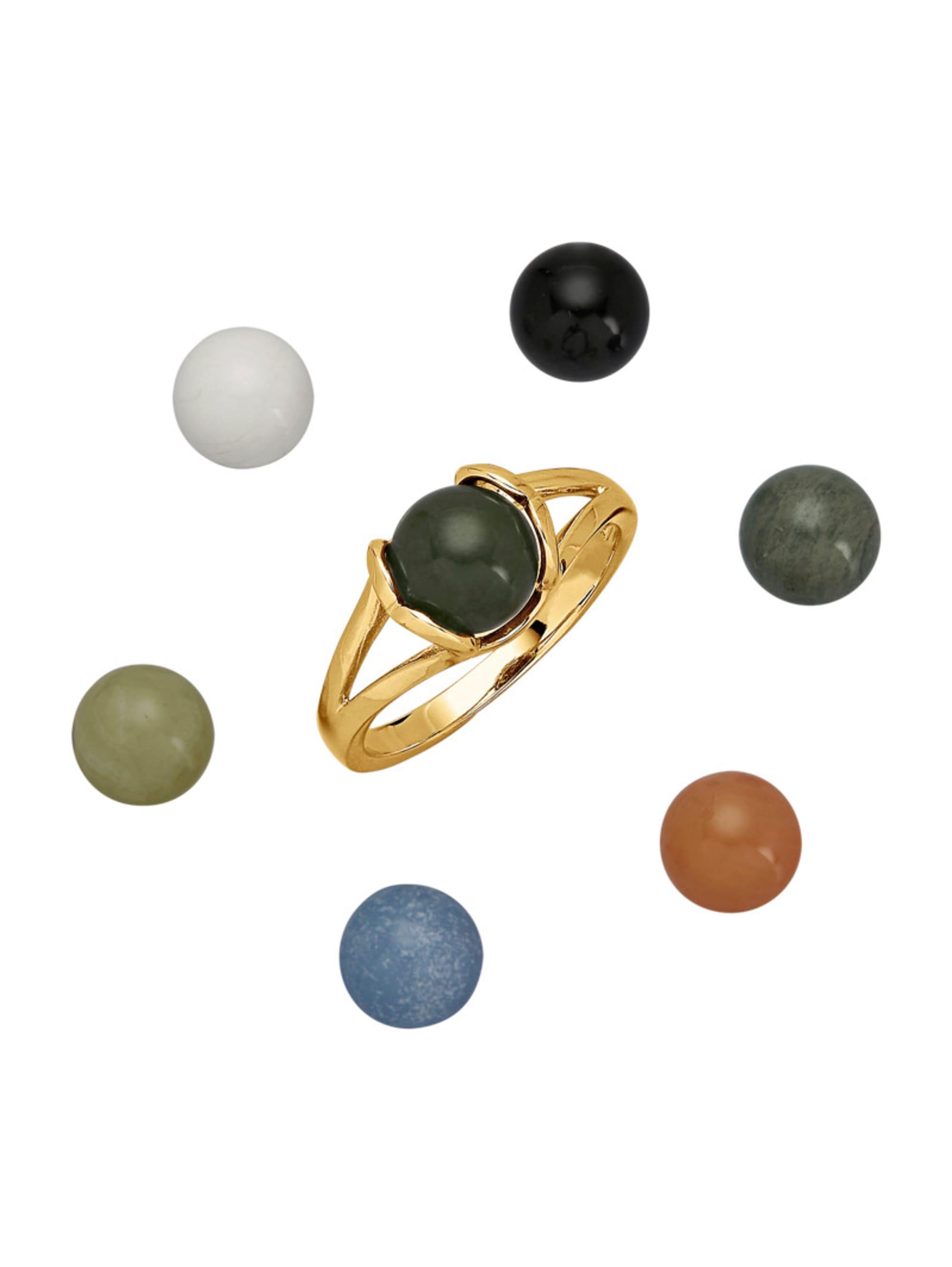 8tlg. Ring-Set mit Farbsteinen tXFRA