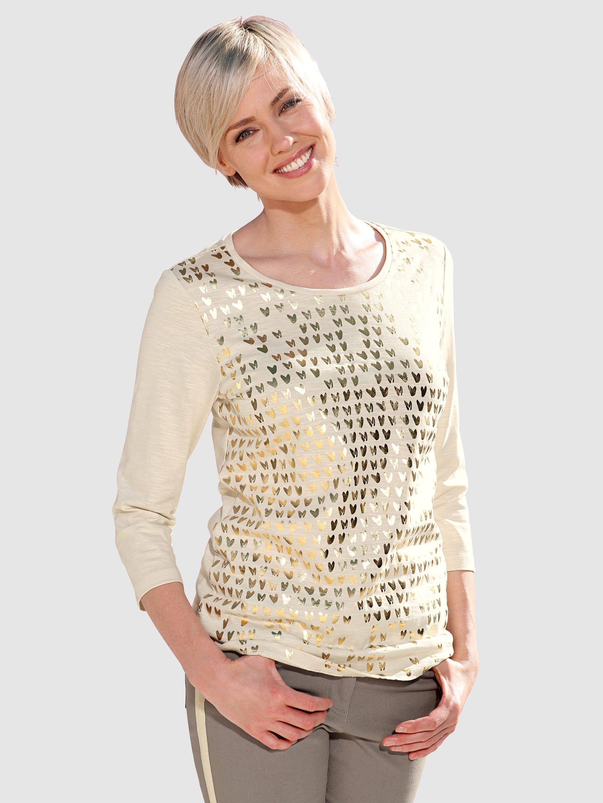 Laura Kent Shirt mit goldfarbenen Foliendruck DCXnO OssTo