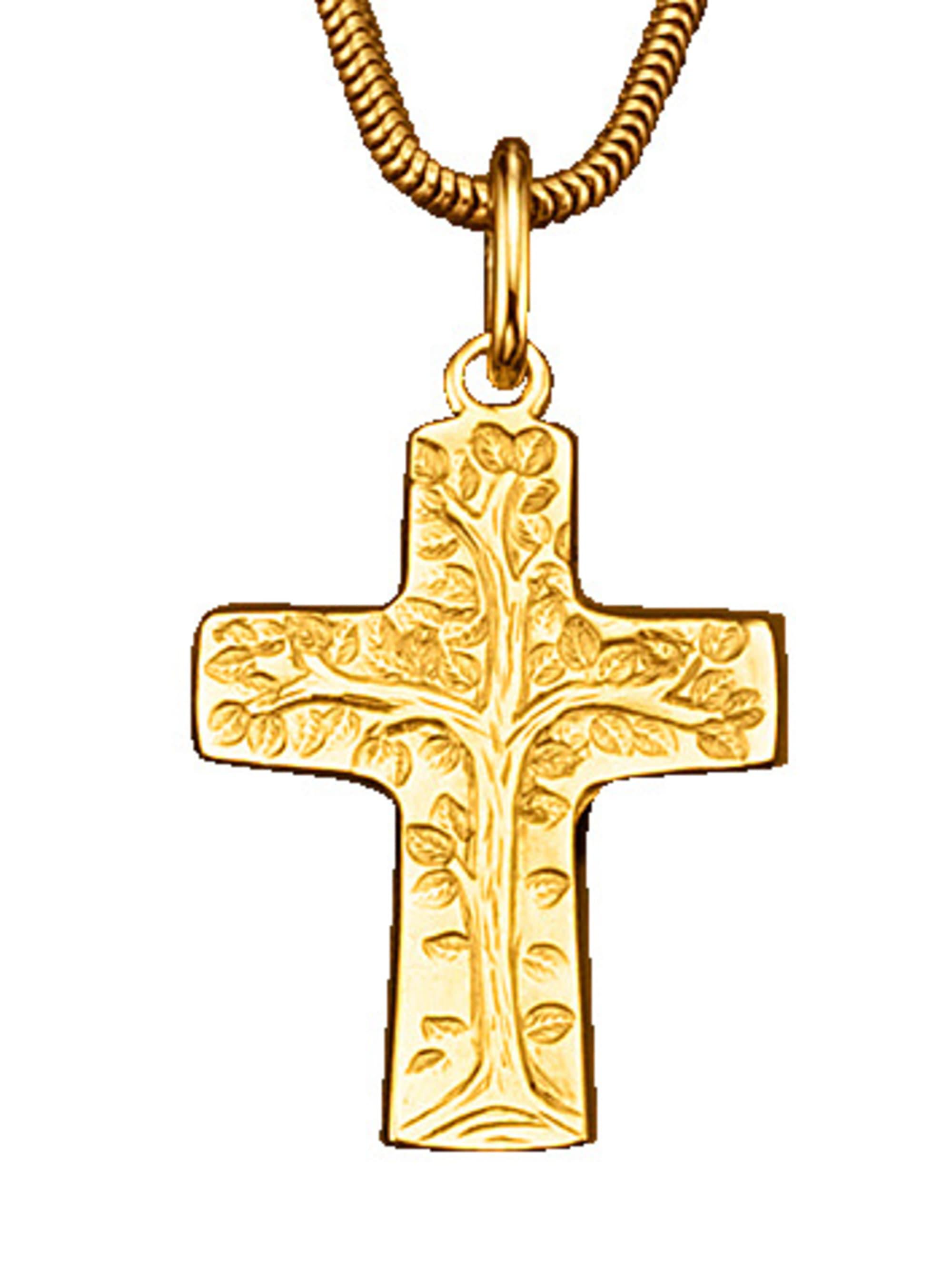 Kreuz-Anhänger in Gelbgold DqrzN