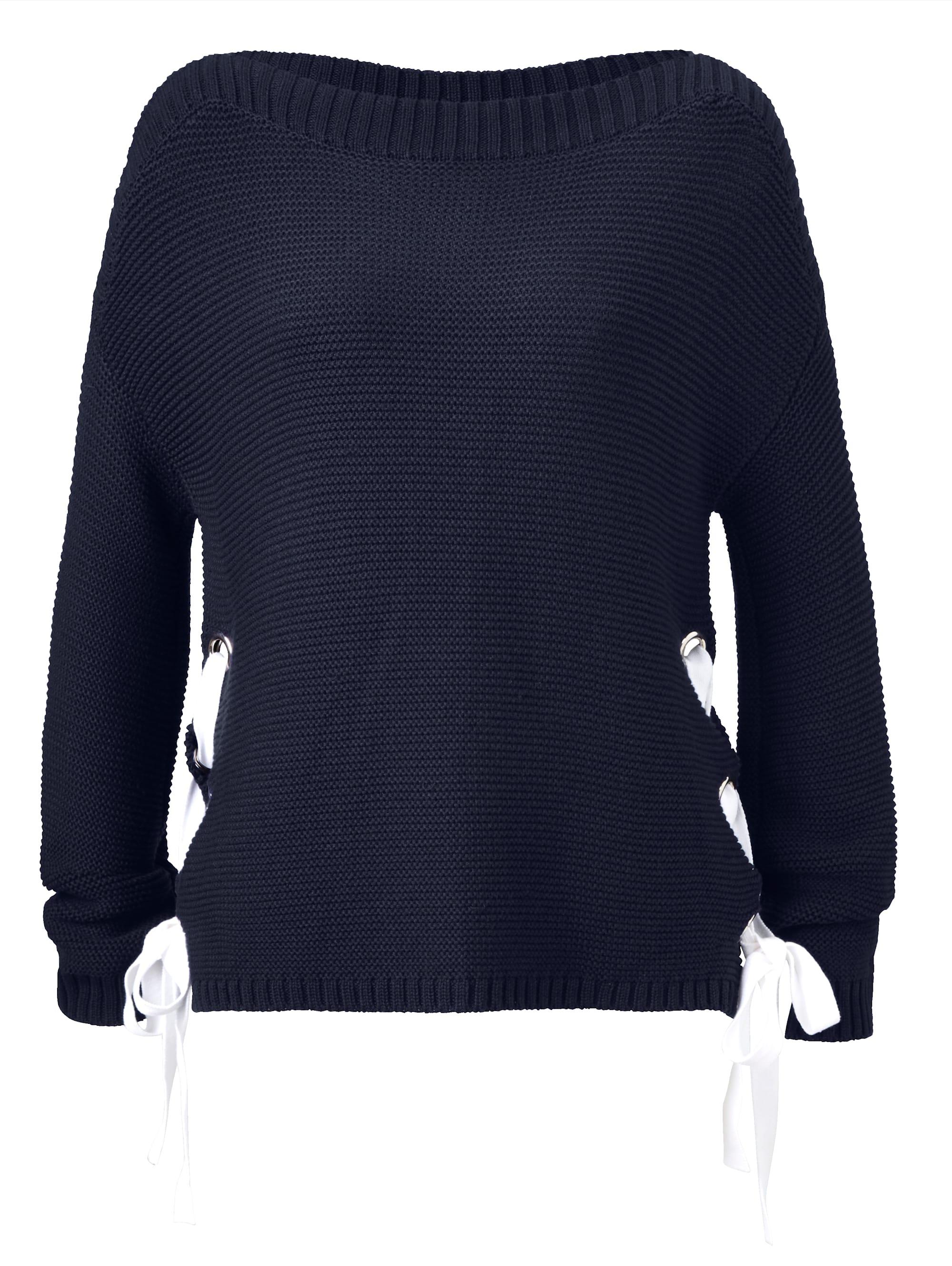 REKEN MAAR Pullover kontrastfarbene Schnürung an den Seiten Vv02d laim0