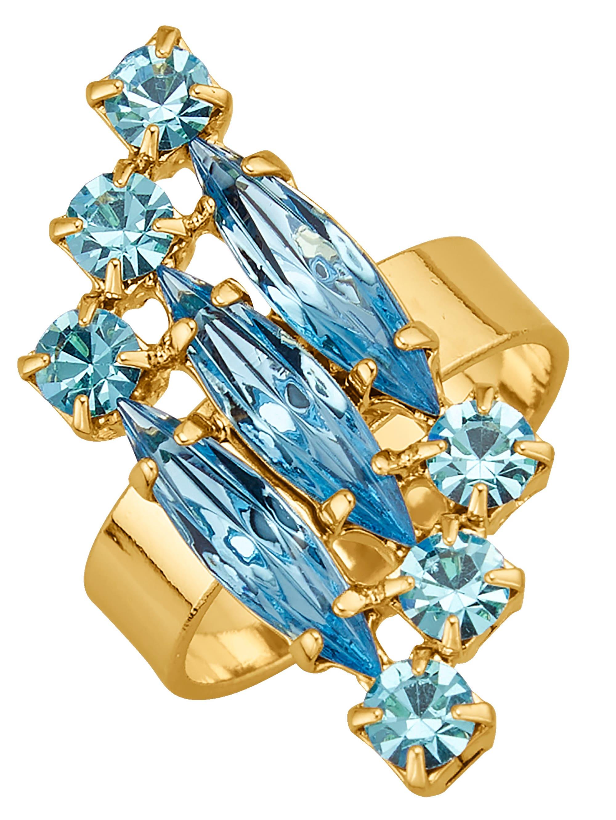 Golden Style Damenring mit hellblauen Kristallen hJK1X