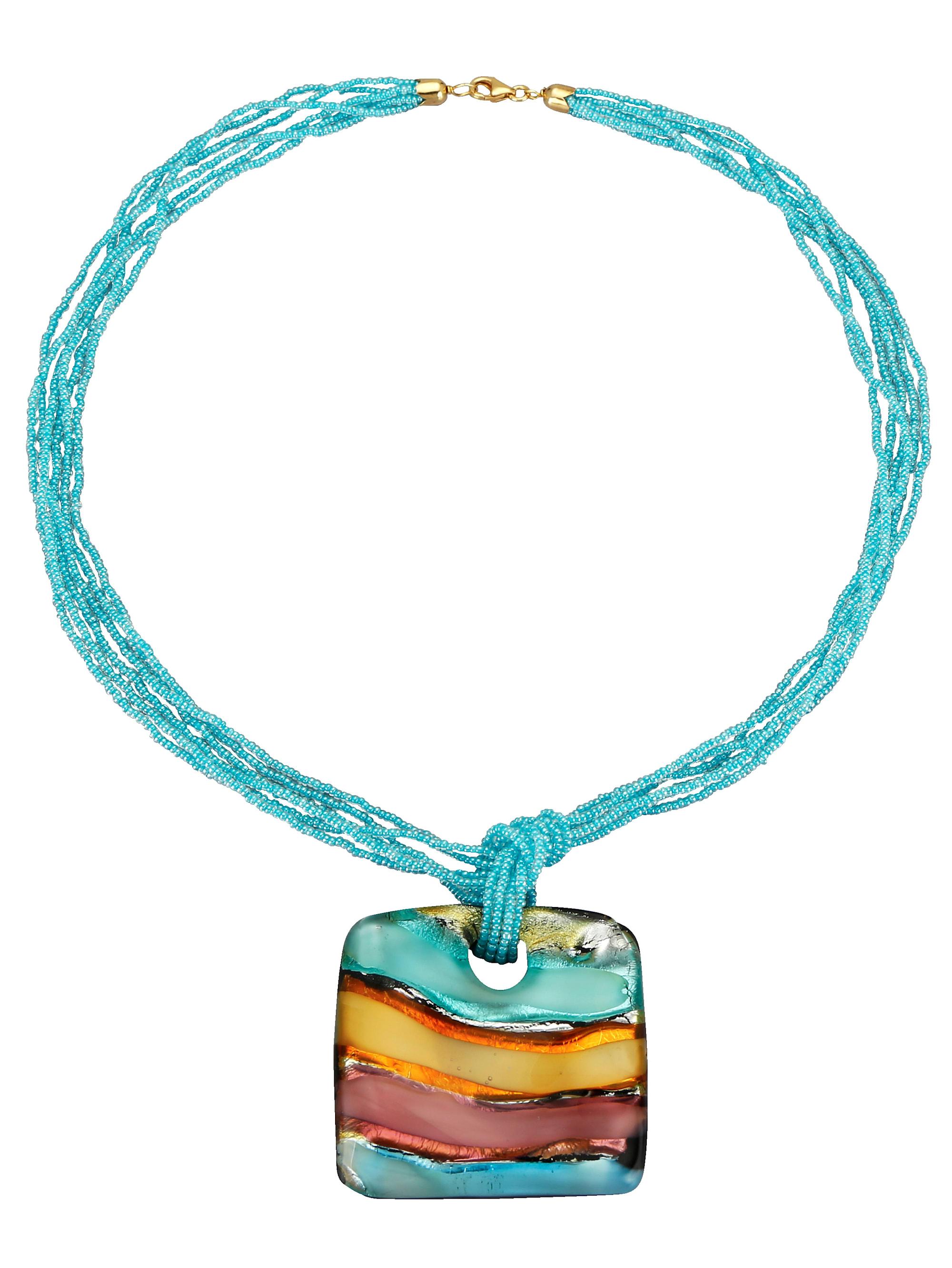 Diemer Farbstein Anhänger mit Muranoglaskette IOqkR