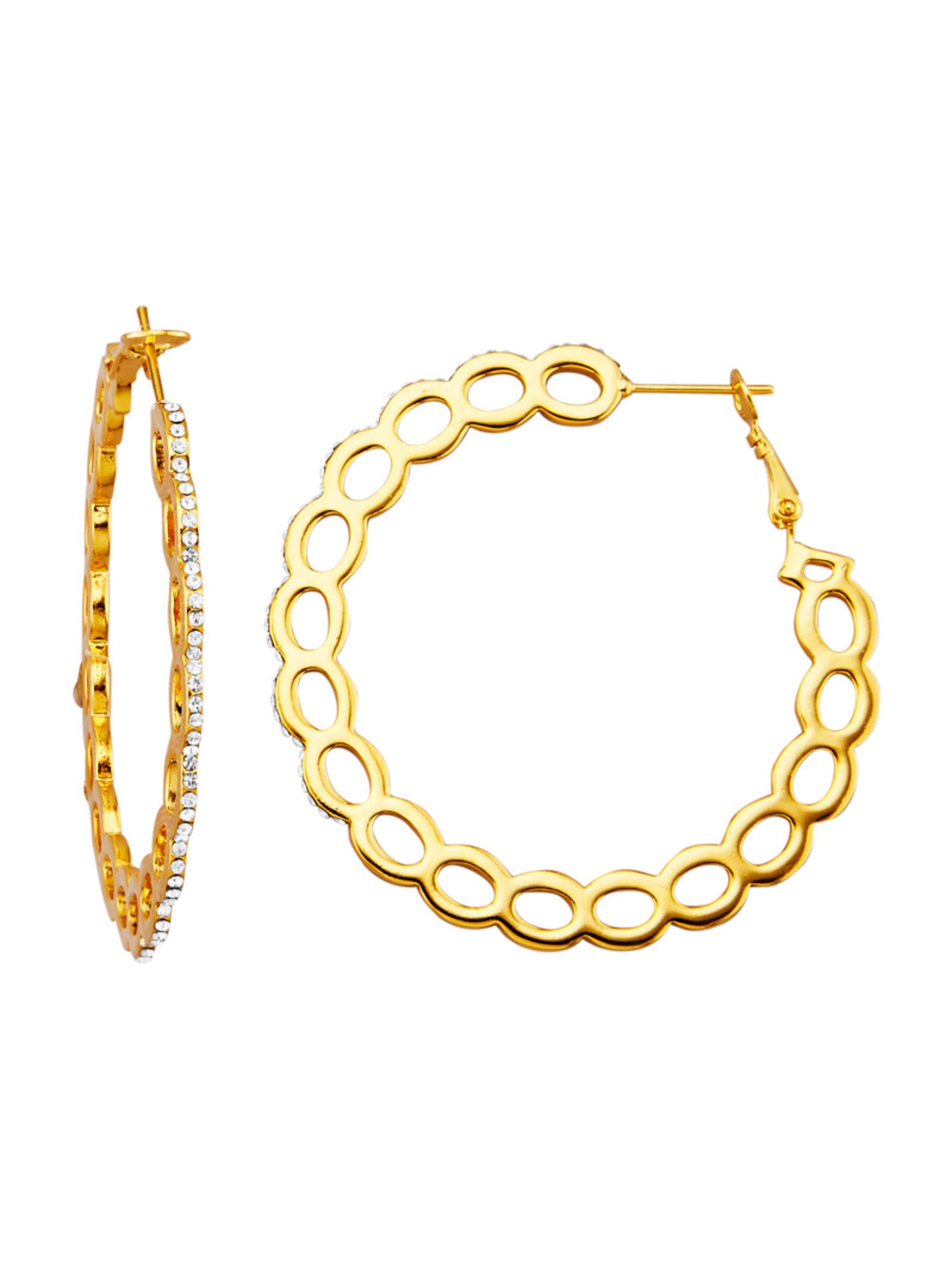 Golden Style Creolen mit weißen Kristallen IlFZ8