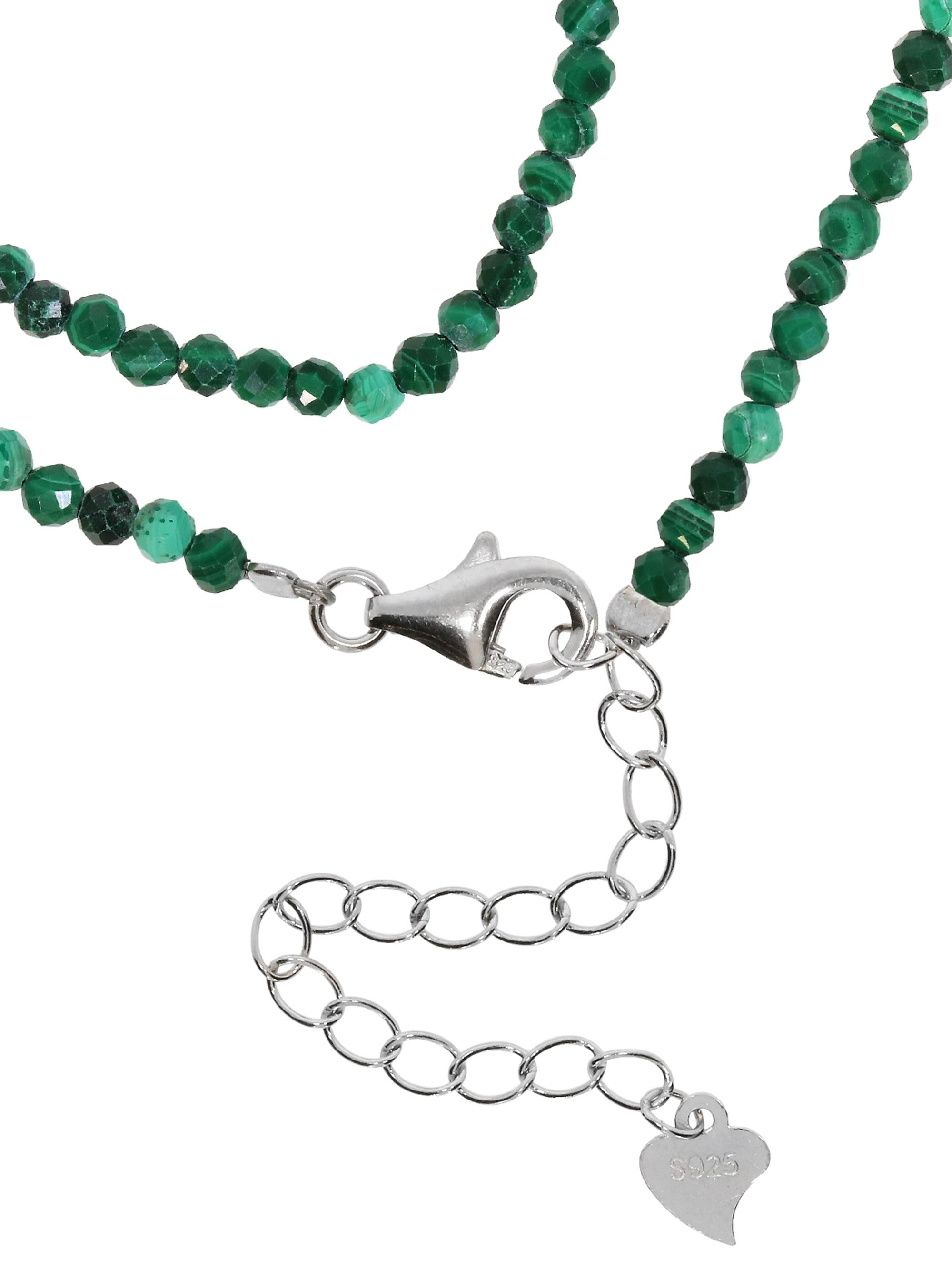 1001 Diamonds Malachit Edelstein Halskette 925 Silber ix4zZ