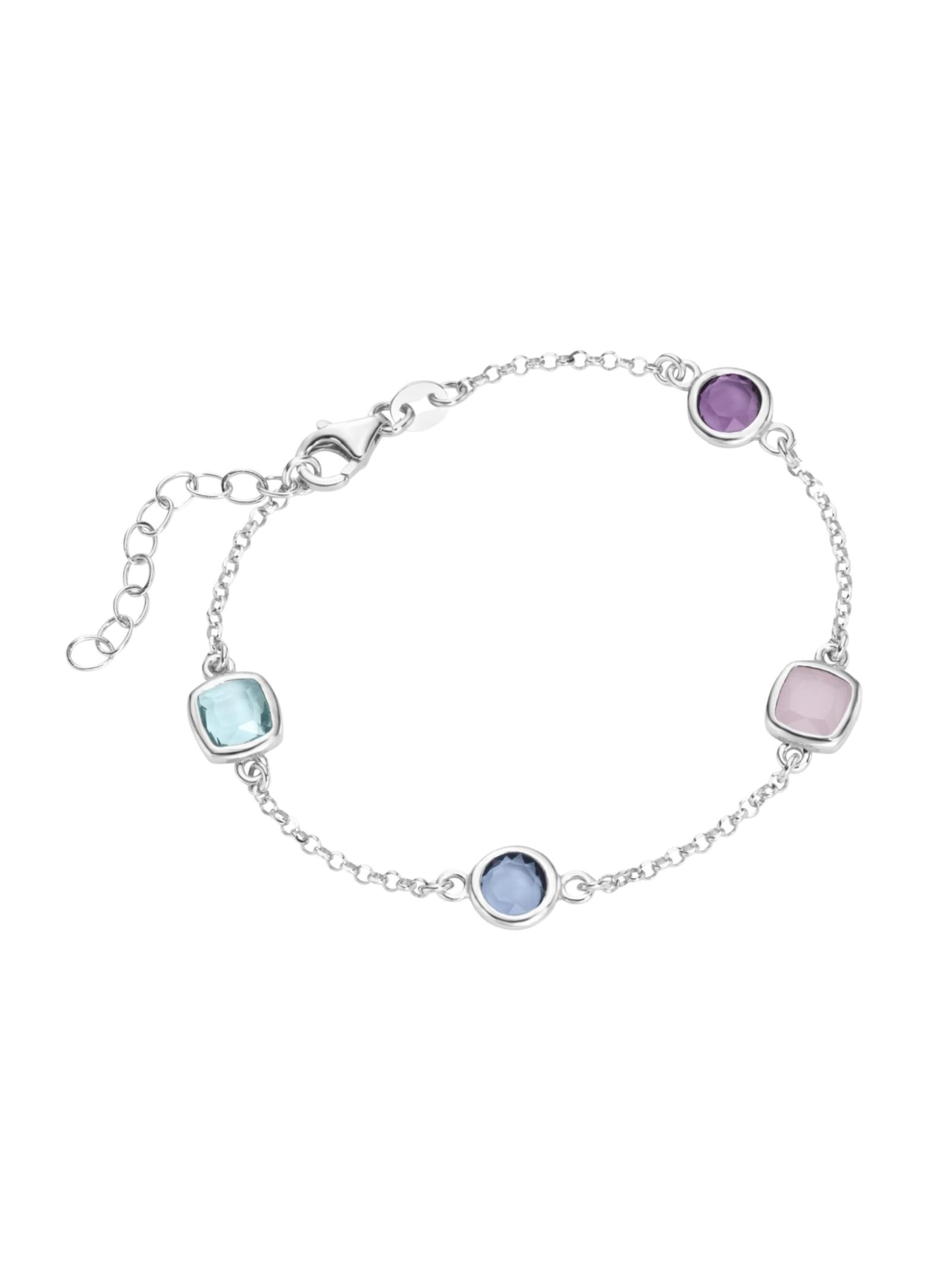 Smart Jewel Armband bunte Steine, Silber 925 KRo8f