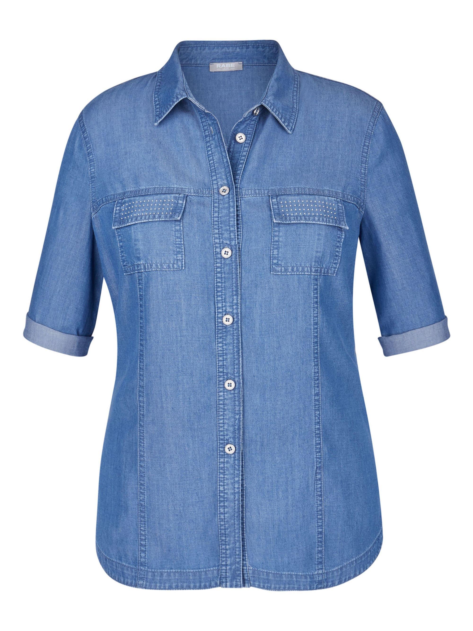 Rabe Bluse mit Brusttaschen und Ziersteinchen erbAI FTLz6