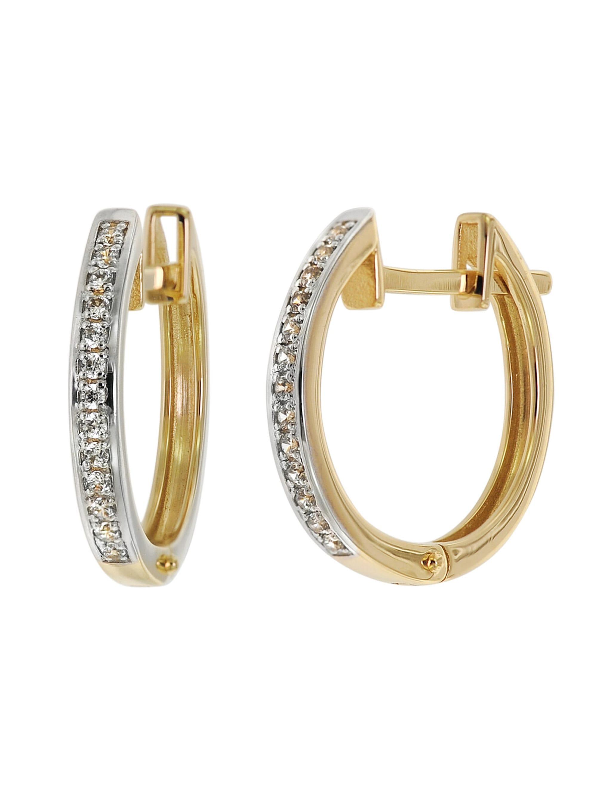 trendor Klapp-Creolen Ohrringe 16 mm Gold 585 / 14K Zirkonias dfbqm