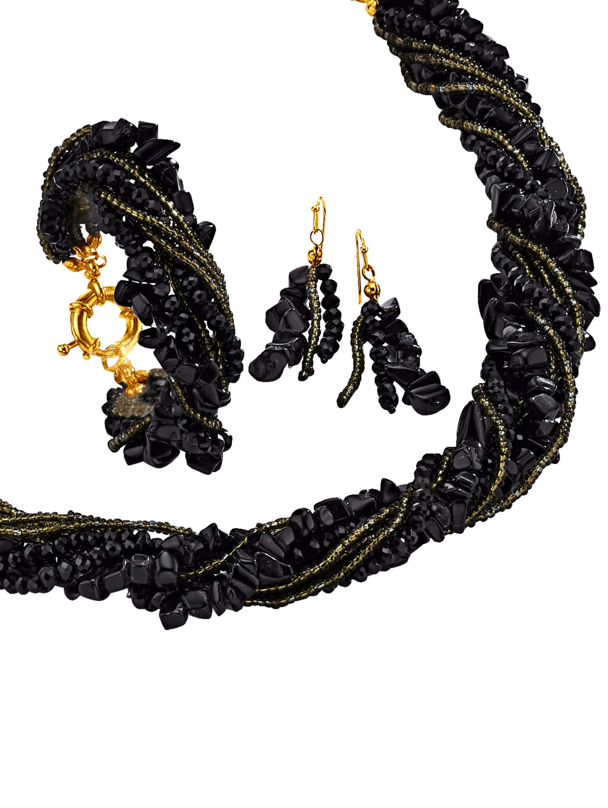 3tlg. Schmuck-Set aus Obsidian-Splittern CXiU8