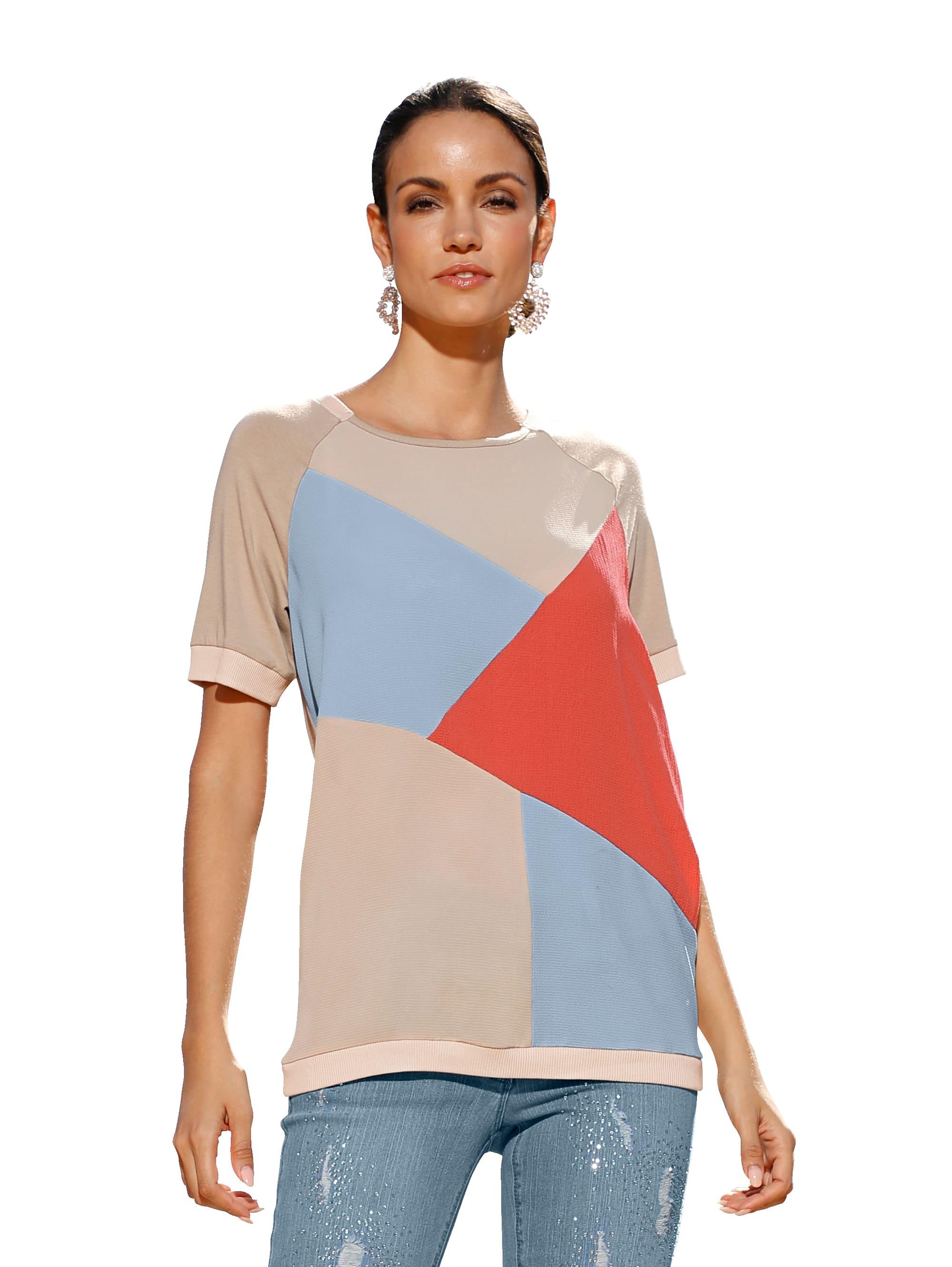 AMY VERMONT Shirt mit buntem Webeinsatz im Vorderteil j1oVS 7oKt7