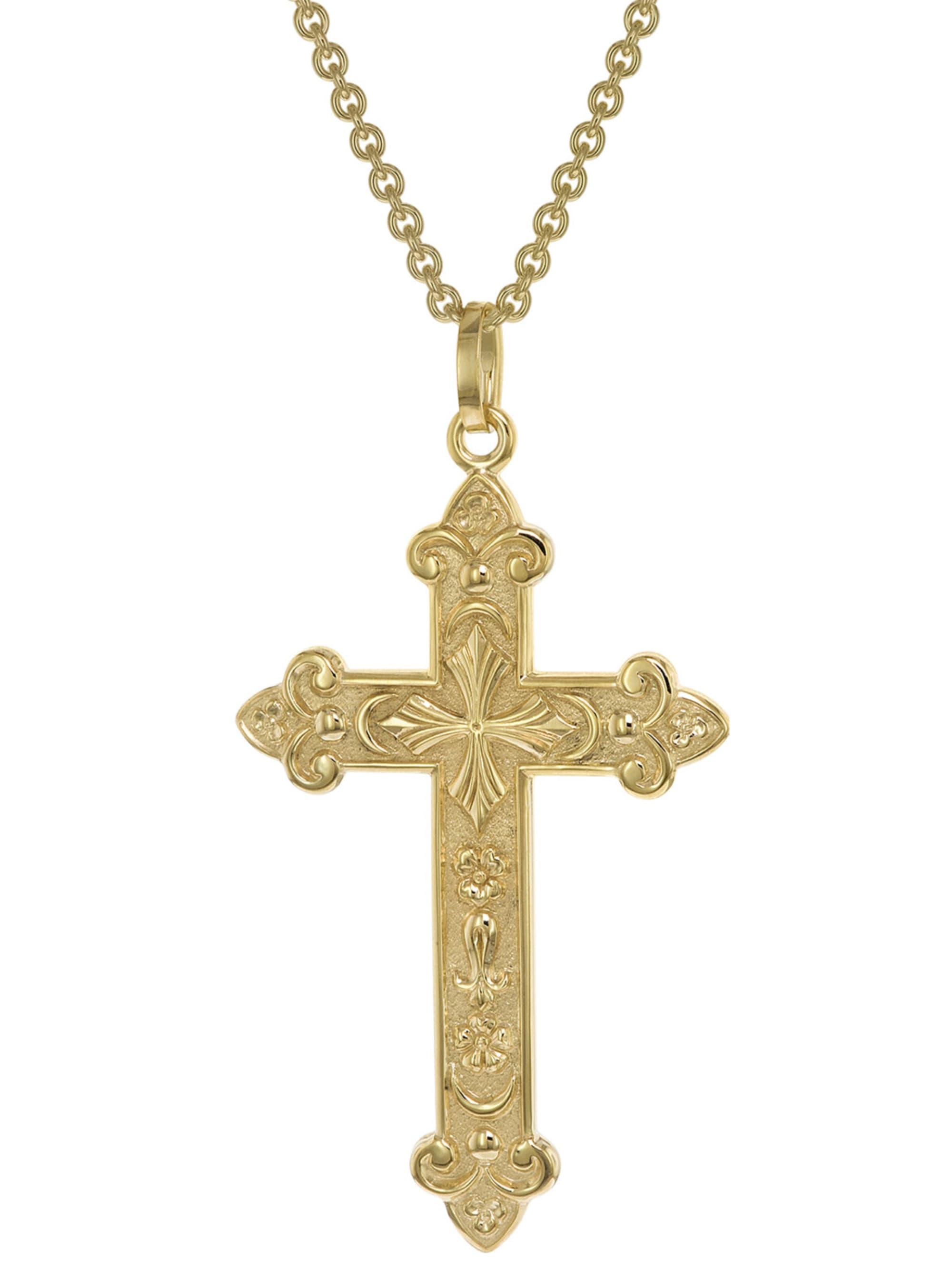 trendor Herren-Halskette mit orthodoxem Kreuz Gold auf Silber 925 Gwqut