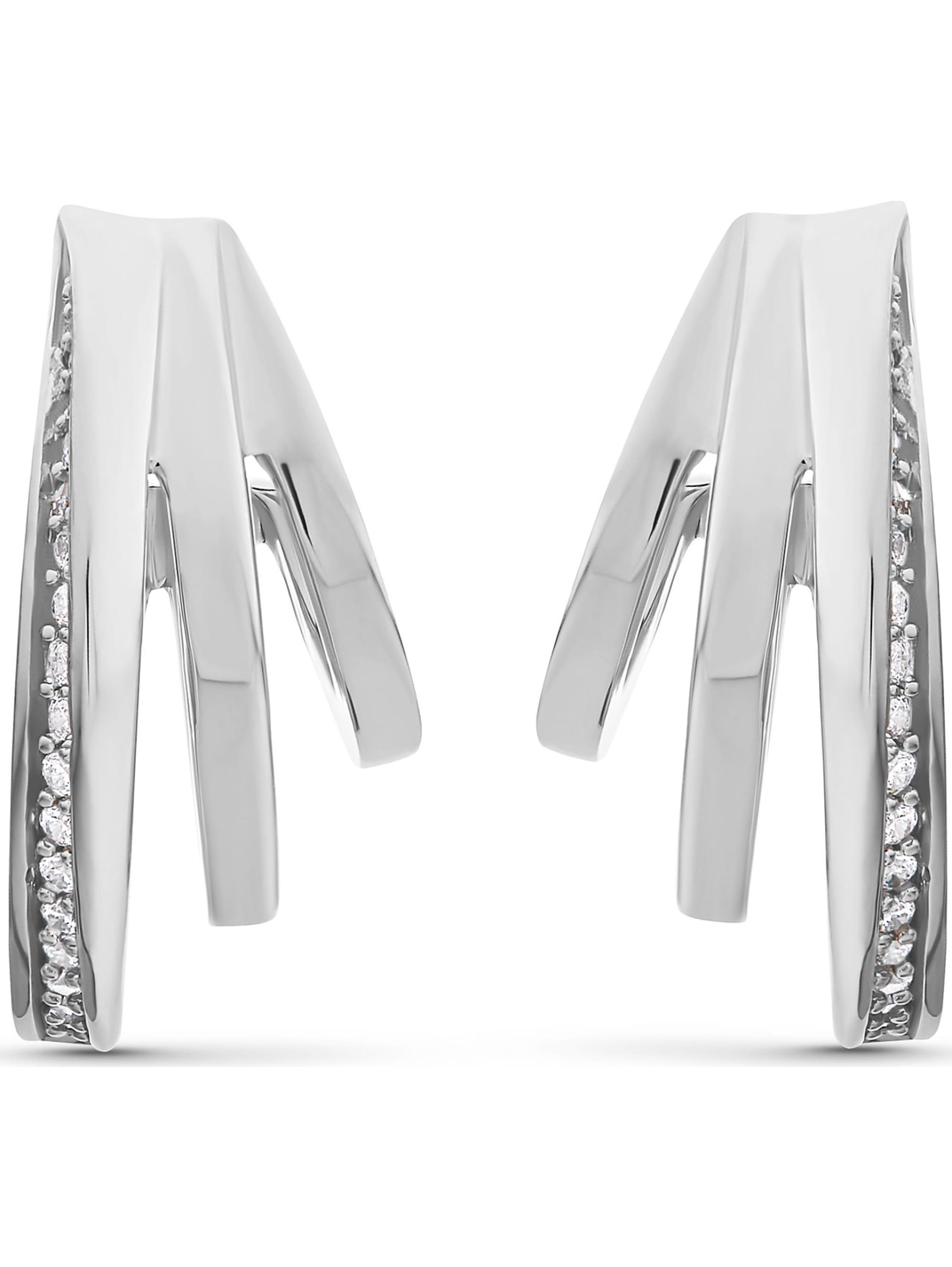 Jette JETTE Silver Damen-Creolen 925er Silber 40 Zirkonia VYFrK