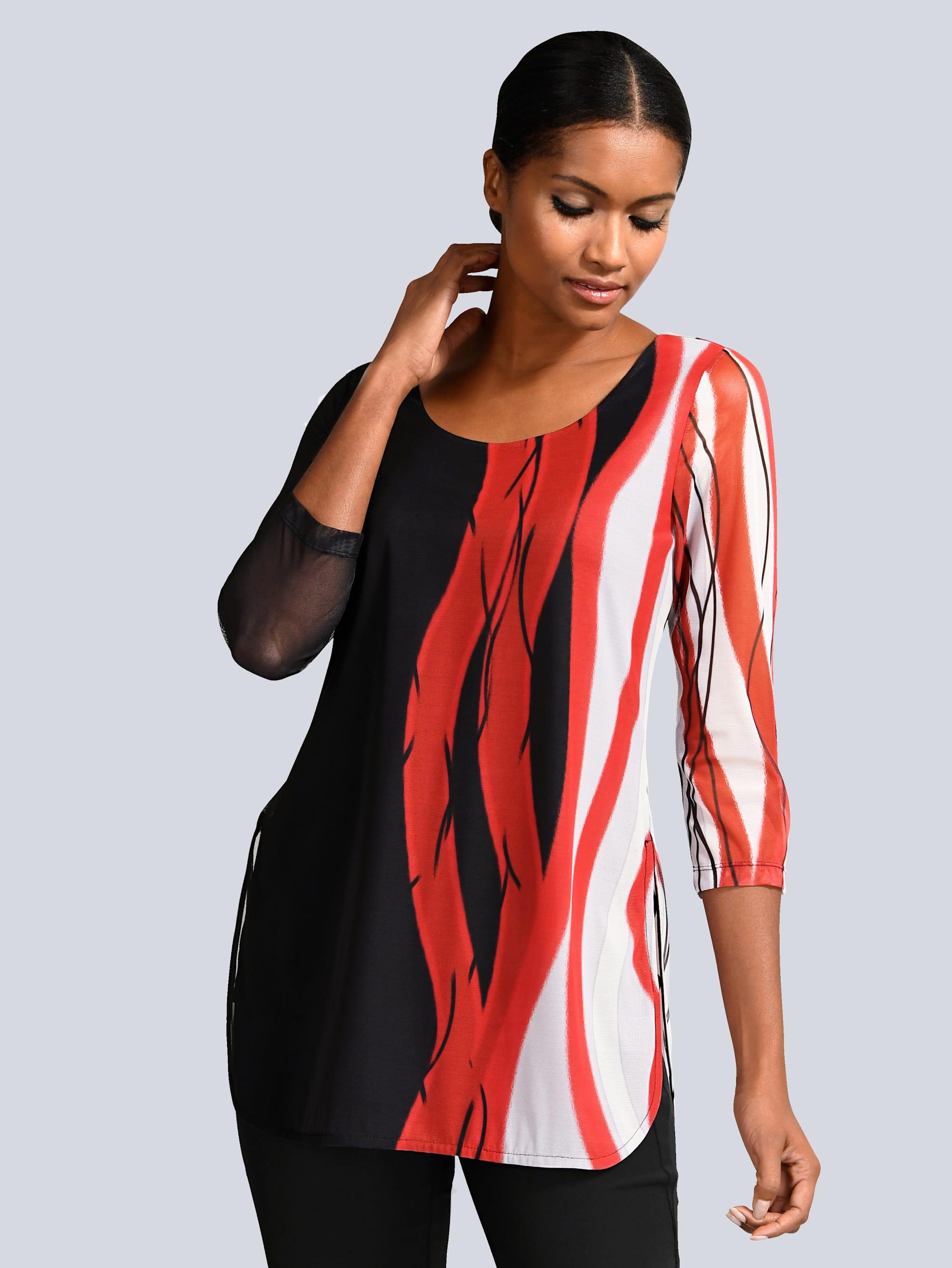 Alba Moda Shirt mit Chiffon-Lage zANS9 UGAkO