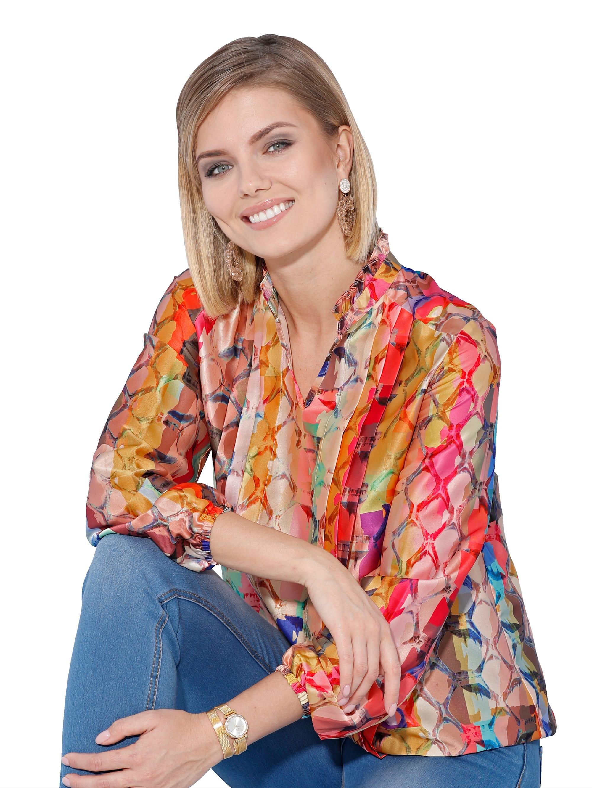 AMY VERMONT Bluse mit farbenfrohen Schlagendruck AHyfj LCERm
