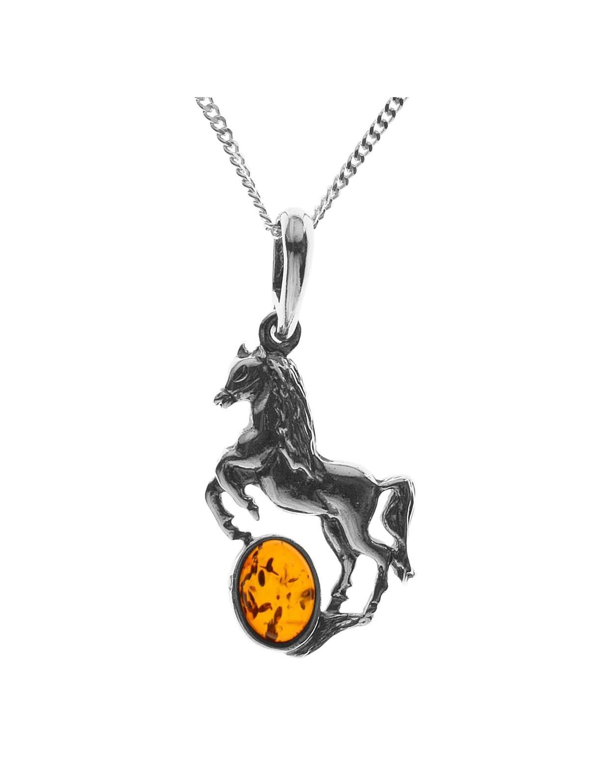 OSTSEE-SCHMUCK Kette mit Anhänger Pferd Silber 925/000 Bernstein 4TaaW
