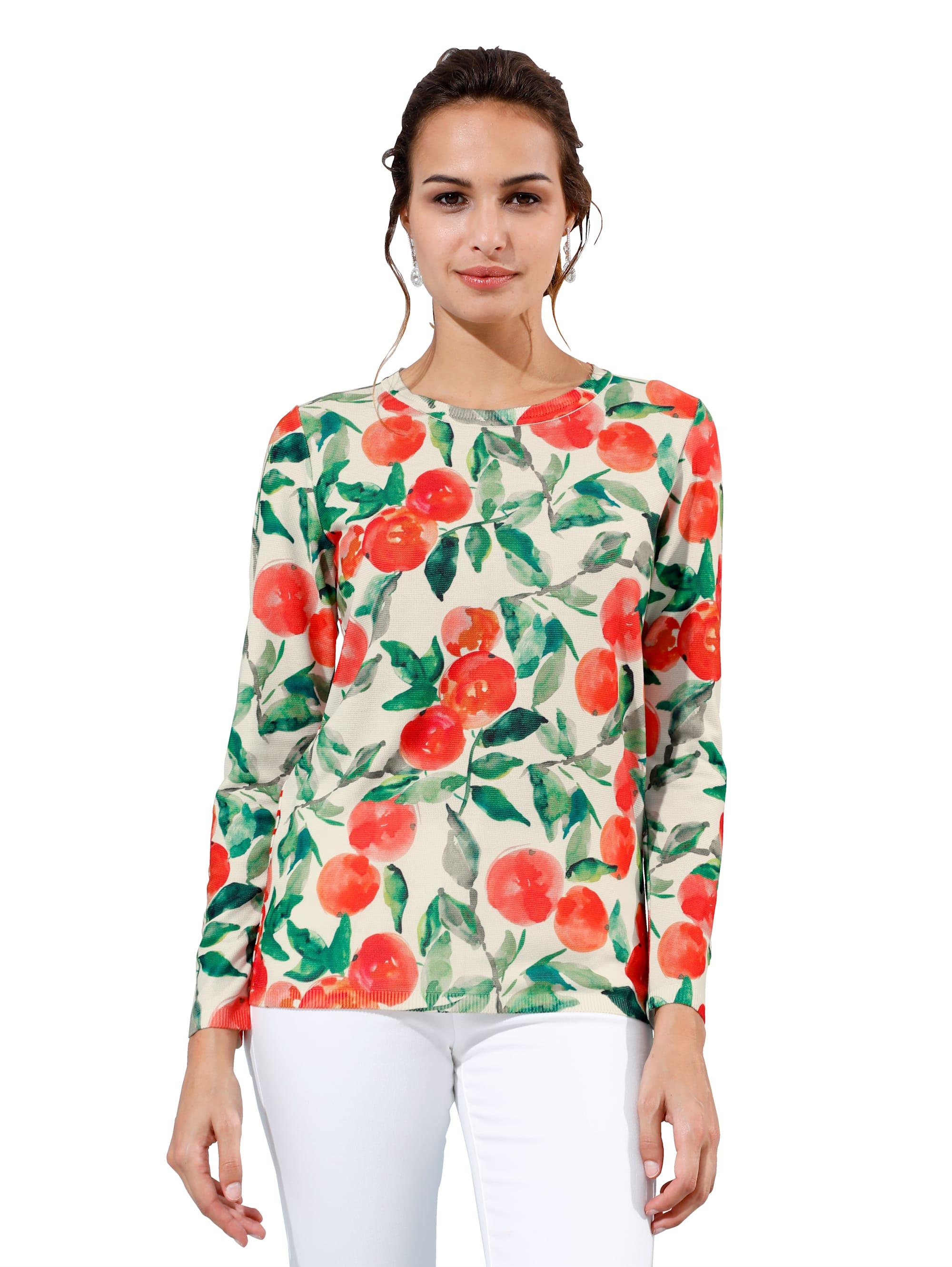 AMY VERMONT Pullover mit Orangen- und Streifendruck ZYYVr bic0B