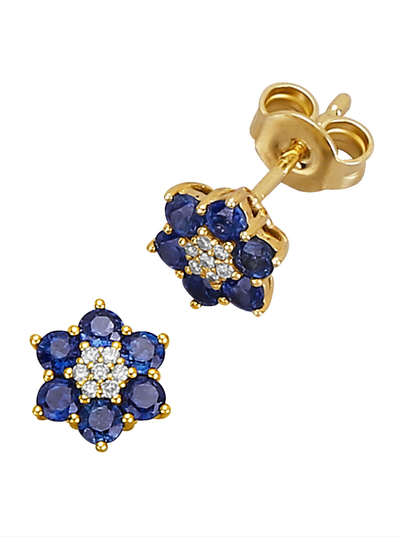 Diemer Farbstein Blumen-Ohrstecker mit Saphiren und Diamanten 3b6MT