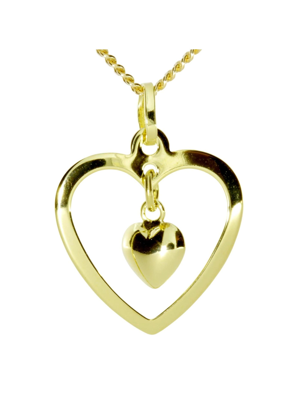 OSTSEE-SCHMUCK Kette mit Anhänger Herz im Herz Gold 333/000 , d0WX8