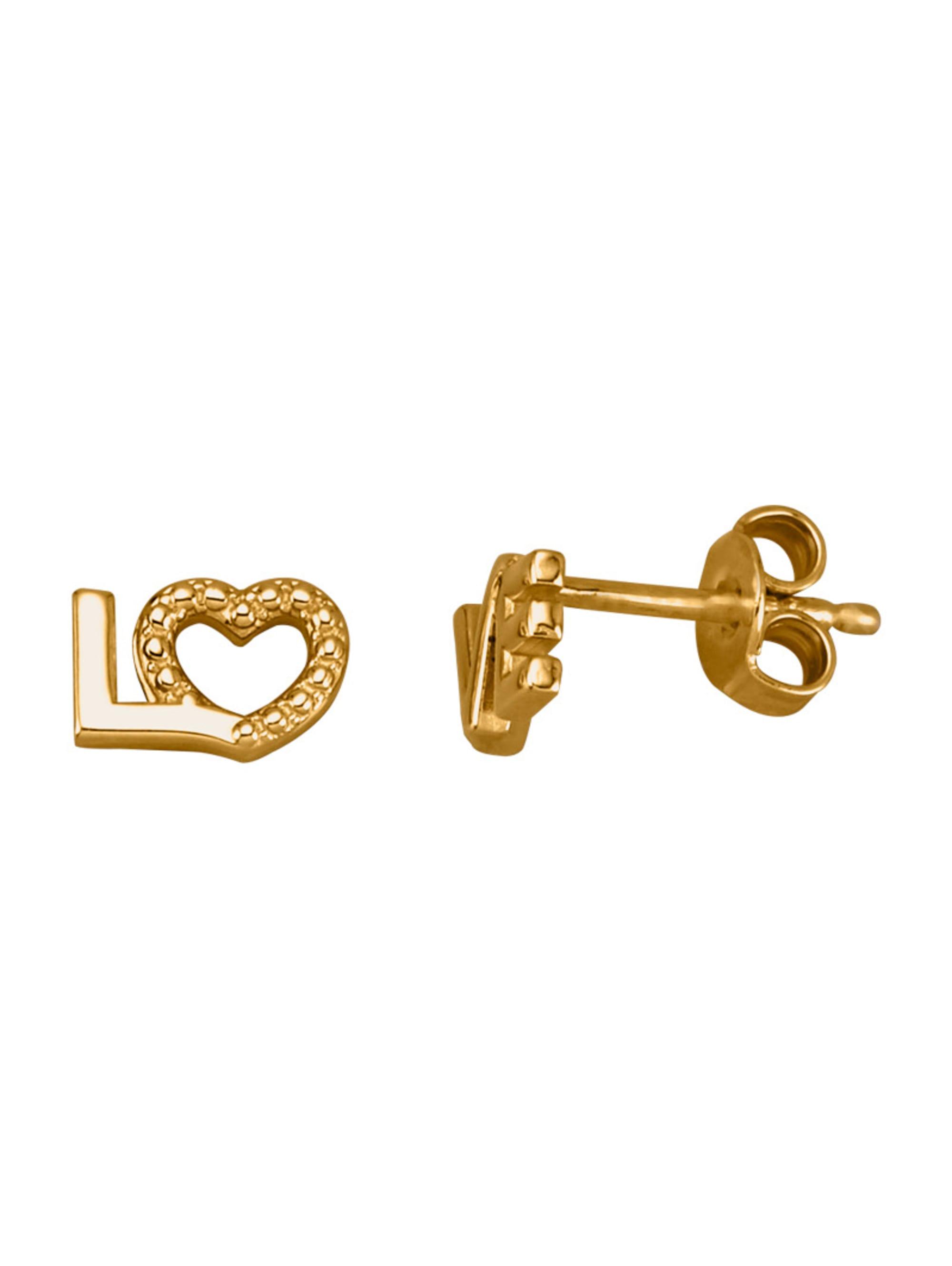 Ohrstecker 'Love' in Massiv Gelbgold 375 XkoSu