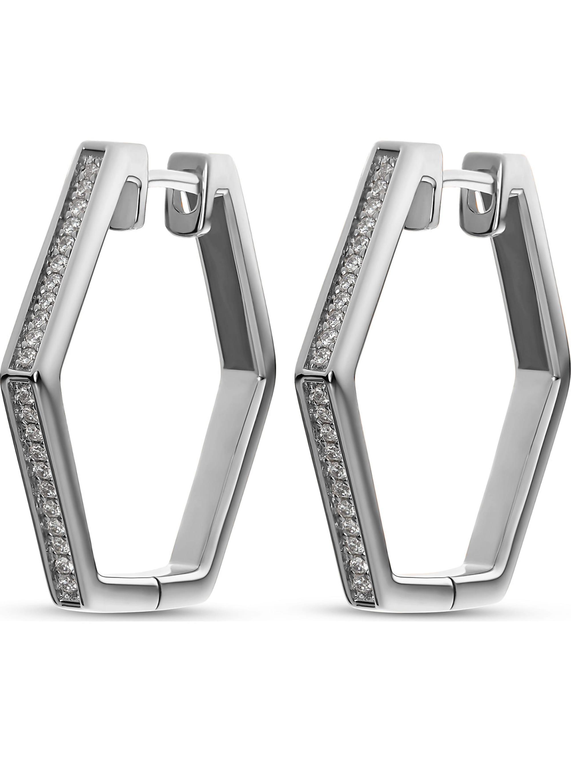 Jette JETTE Silver Damen-Creolen Hexagon 925er Silber 44 Zirkonia 4xv0I