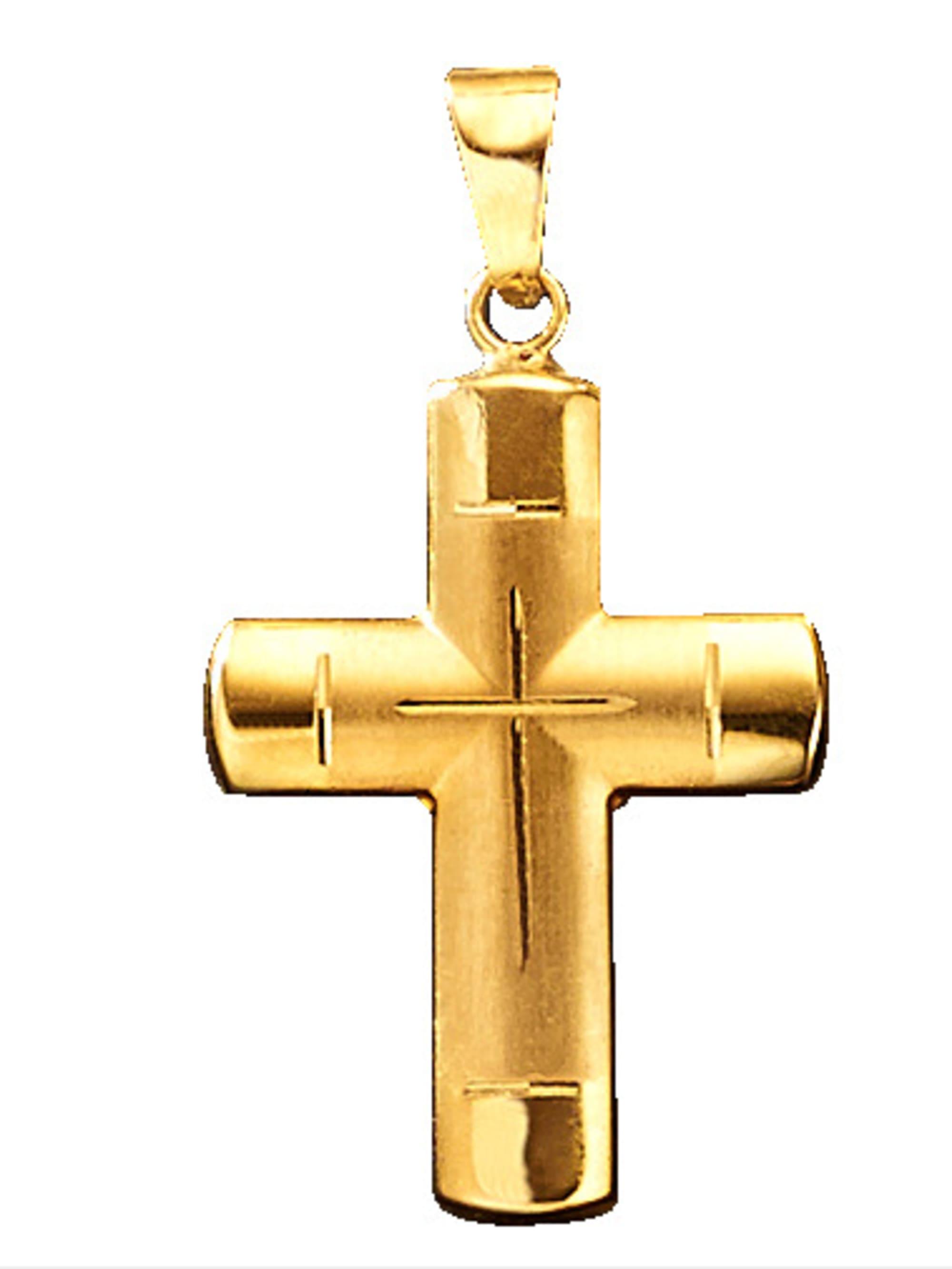 Kreuz-Anhänger in Gelbgold SGr9w