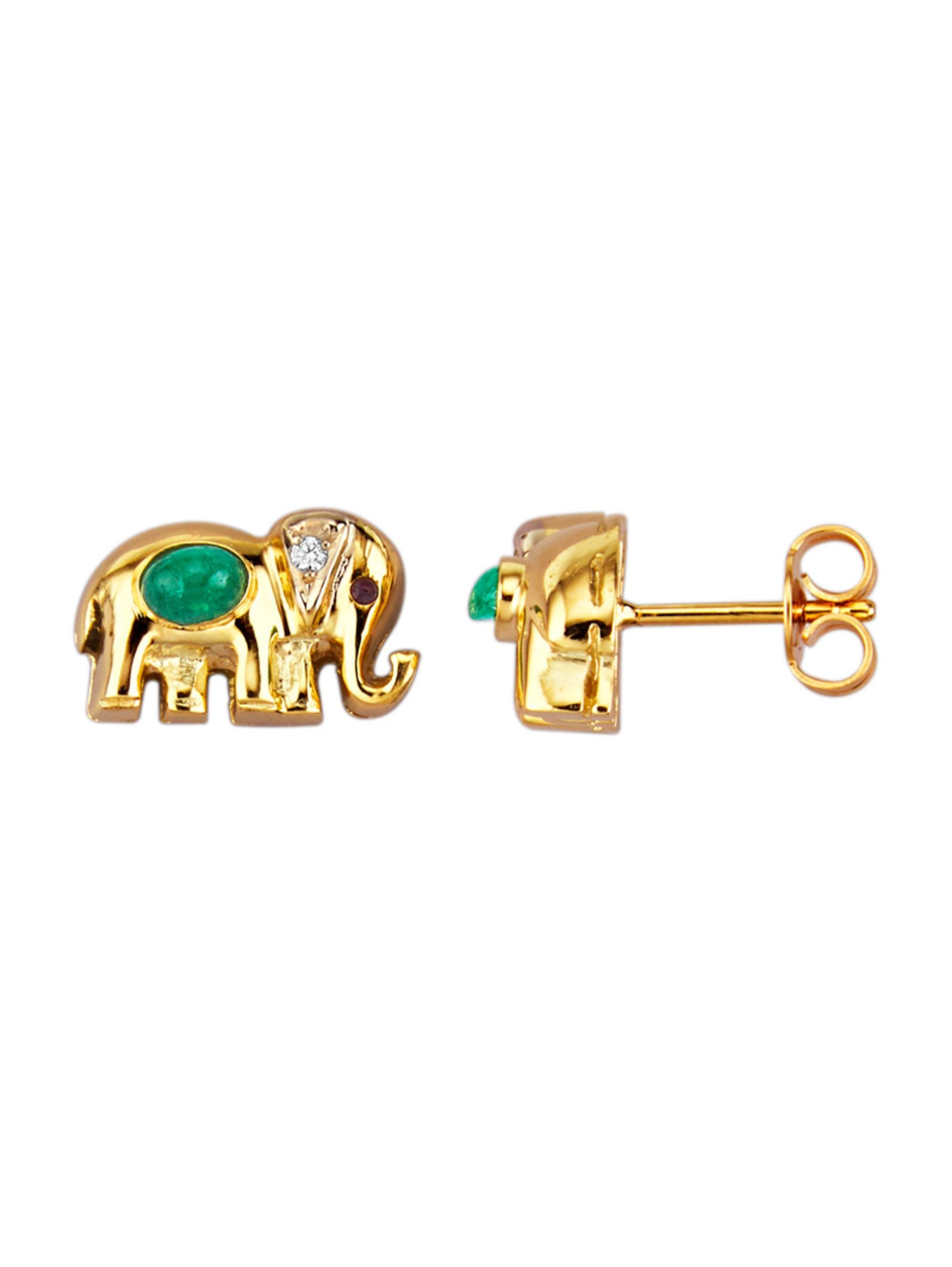 Diemer Farbstein Elefanten-Ohrstecker in Gelbgold fCVtk