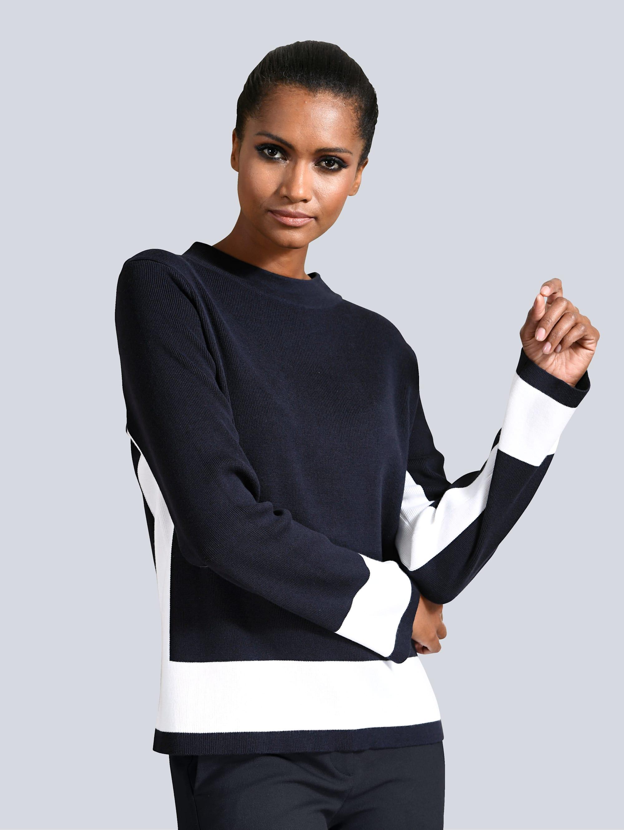 Alba Moda Pullover mit kontrasfarbigen Blenden cPSX2 EBBUr