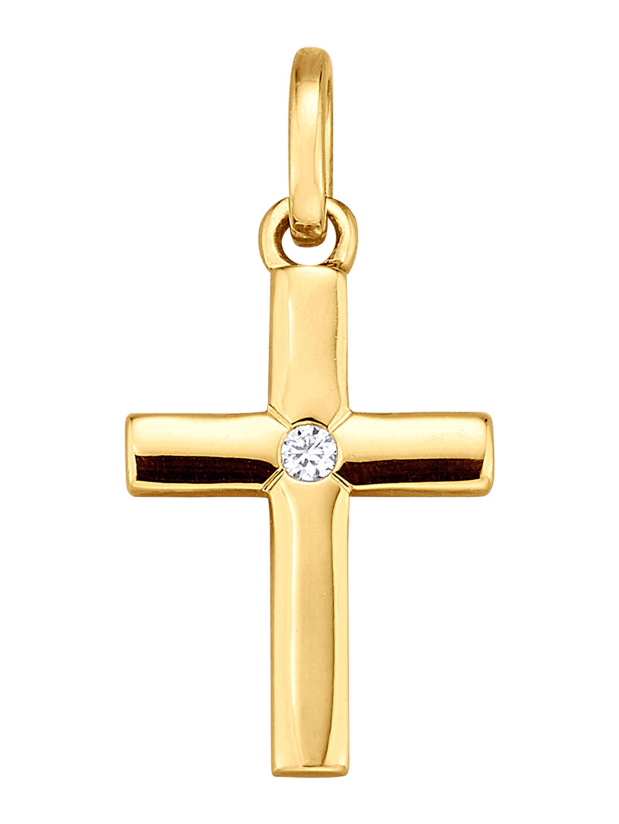 Kreuz-Anhänger mit Diamant 5sloY