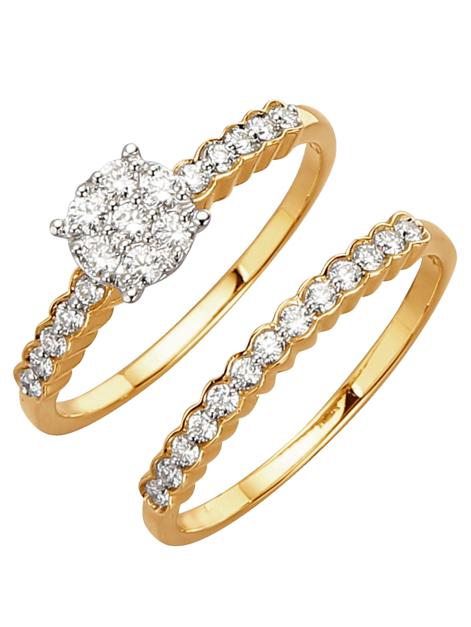 Diemer Diamant 2tlg. Ring-Set mit Brillanten zz32b