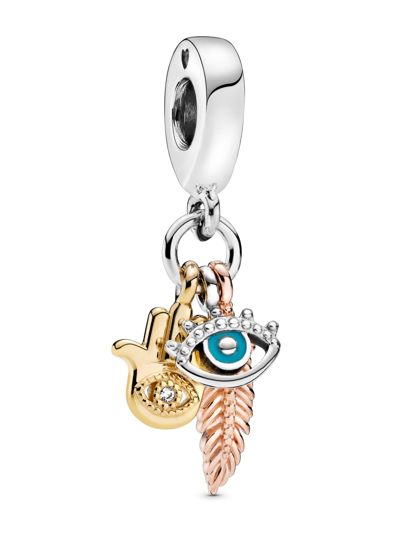 Pandora Charm-Hand der Fatima,beschützendes Auge, Federgeist- 768785C01 v8zDh