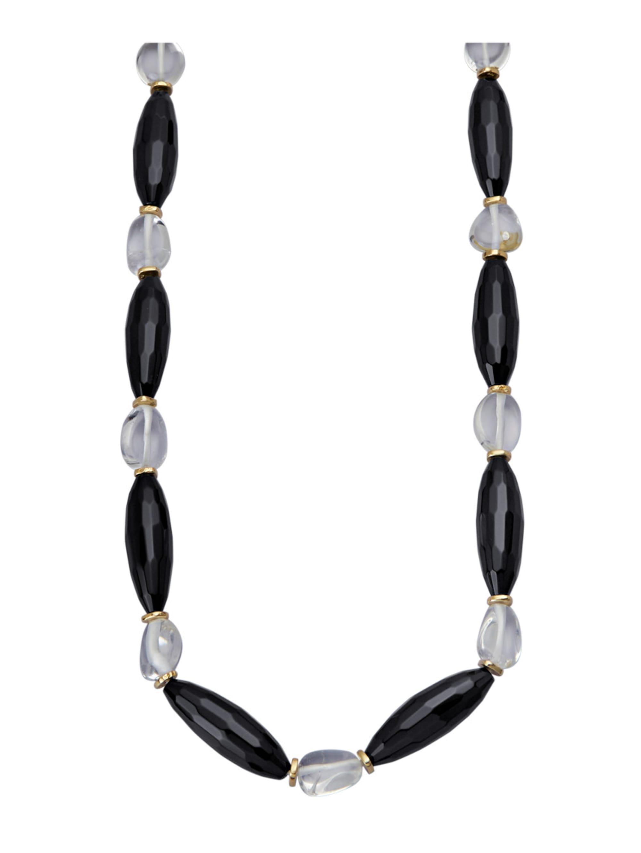Halskette aus Achaten und Bergkristallen lpIW0